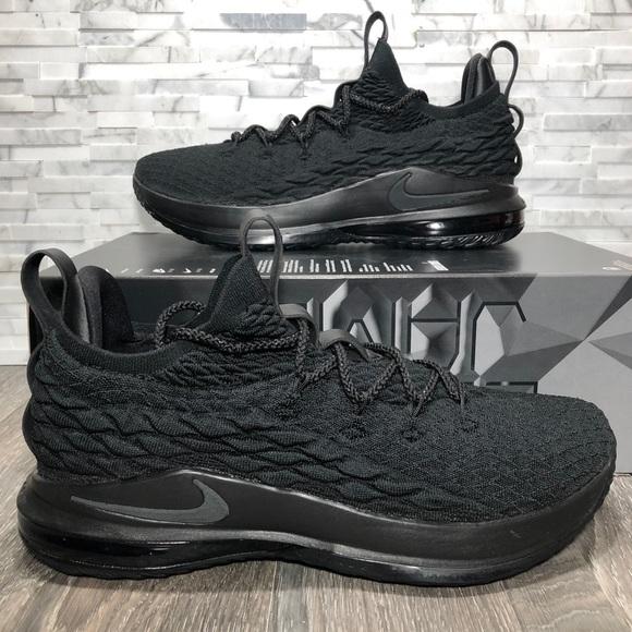 competitive price 6c7b0 177cf Nike Lebron James XV 15 Low Triple Black NWOT